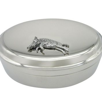 Running Boar Pendant Oval Trinket Jewelry Box
