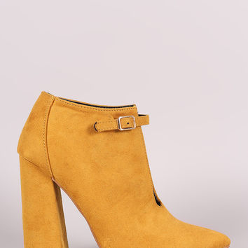 Suede Front Cutout Buckle Chunky Heel Bootie