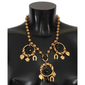 Dolce & Gabbana Gold Charm Black Crystal Statement Necklace