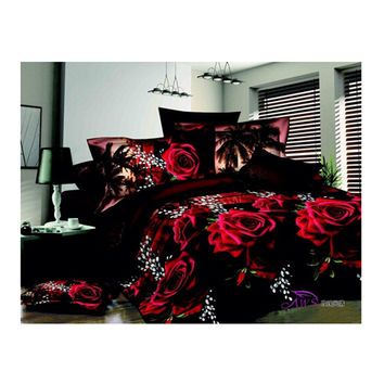 3D Flower Queen King Size Bed Quilt/Duvet Sheet Cover 4PC Set Cotton Sanded 017