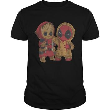 Marvel Deadpool And Baby Groot Shirt Premium Fitted Guys Tee