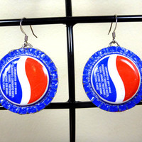 Bottle Cap Earrings - Upcycled Pepsi Cola - Our Talking Hands - Supporting the Deaf in Ghana