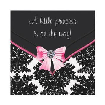 Black Damask Pink Bow Princess Baby Shower Personalized Invitations from Zazzle.com