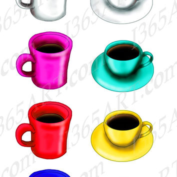 Coffee Mugs and Tea Cups Clipart Pack Red, Blue, Yellow, Teal, Magenta, Green, White 300 DPI PNG & JPEG Instant Download