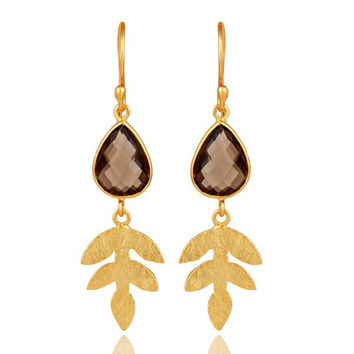 18K Gold Plated Sterling Silver Smokey Quartz Leaf Designer Dangle Earring