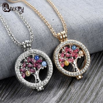 My Coins Necklace Mi Disc Moneda Rhinestone Crystal Floating Locket Holder Life Tree Necklace For Women NA