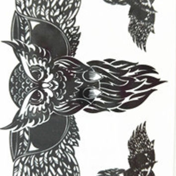 2016 NEW 10x6cm Temporary Small Fashion Tattoo Black Cool Owl Waterproof Temporary Tattoo Stickers