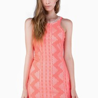 Pink Neon Knit Bodycon Dress with Open Back & Neck Detail