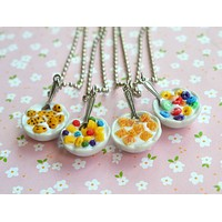 Bowl of Cereal Miniature Food Jewelry Necklace Polymer Clay breakfast