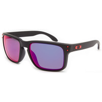 Oakley Holbrook Sunglasses Matte Black/Red Iridium One Size For Men 21599518201