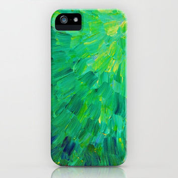 SEA SCALES in GREEN - Bright Green Ocean Waves Beach Mermaid Fins Scales Abstract Acrylic Painting iPhone Case by EbiEmporium
