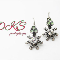 Snowflakes and Holly, Swarovski Lever Back Earrings, Winter, Holiday, Crystal, Drops, Dangles, DKSJewelrydesigns, FREE SHIPPING