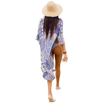 Women Summer Blouse Bathing Suit Cover Ups Tunic Beach Kimono Fashion Pareo Robe Geometric Printed Sexy Hawaiian Robe