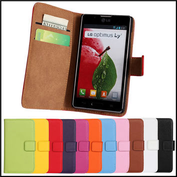 Leather Case For LG Optimus L7 II P700 P705 P710 P713 L5 II E460 Wallet Stand Real Leather Phone Case Cover Shell For LG L7 II