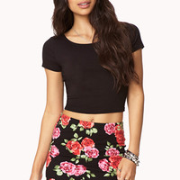 Rosette Print Bodycon Skirt