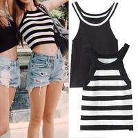 Sleeveless Stripes Crop Top High Rise Sexy Vest T-shirts [4919450820]