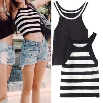 Sleeveless Stripes Crop Top High Rise Sexy Vest T-shirts [4976794820]