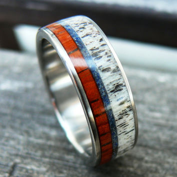Titanium Wood Deer Antler Ring With Blue Crushed Stone
