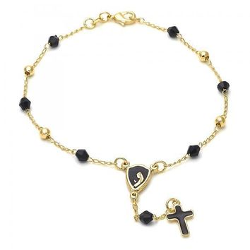 Gold Layered 5.213.010.08 Thin Rosary, Virgen Maria and Cross Design, with Black Azavache, Black Enamel Finish, Golden Tone