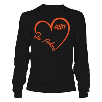 Oklahoma State Cowboys - Heart 3/4 - T-Shirt - Officially Licensed Fashion Sports Apparel