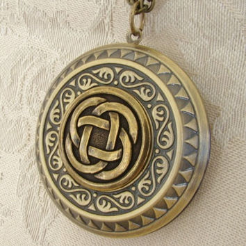 Celtic Knot Locket Necklace, Wedding, Large Round Gold, Irish,Wales,Scotland Steam Punk, Long Chain- Darcy