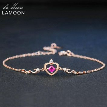 LAMOON Crow Princess Cut 0.2ct 100% Real Ruby 925 Sterling Silver Jewelry  S925 Charm Bracelet LMHI028