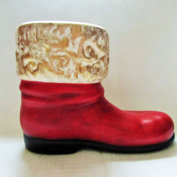 Vintage Santa Boot Planter Ceramic