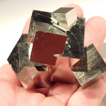 A Rare STAR Cluster! 100% Natural Entwined PYRITE Crystal Cubes! Spain 251.0gr e