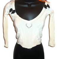 Altered White Lightweight See Through Cream Colored Beach Cover Lolita Half Top with Black Bows Juniors Clothes Size XS/S
