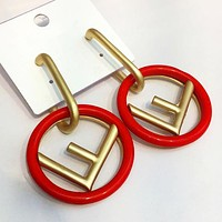 Fendi Fashion New Letter Circle High Quality Women Long Earring Red