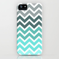 Tiffany Fade Chevron Pattern iPhone Case by RexLambo | Society6
