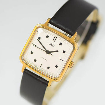 Watch for women square, lady wristwatch gold plated Dawn, women watch gift, Quality Mark USSR lady watch, genuine leather strap new