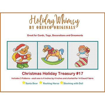 Christmas Holiday Treasury #17 Teddy Bear, Rocking Horse and Doll Stocking THREE Counted Cross Stitch Patterns