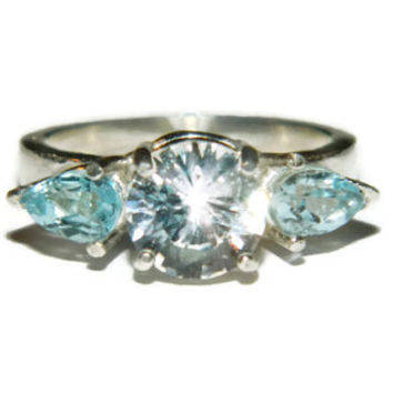 White Sapphire Ring, Blue Topaz Accents, Anniversary, Cocktail Ring, Middle Finger, Right Hand