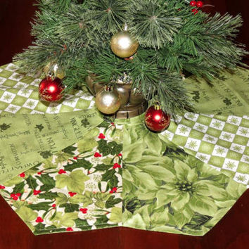 Mini Table Top Christmas Tree Skirt, Pieced, Reversible, Green