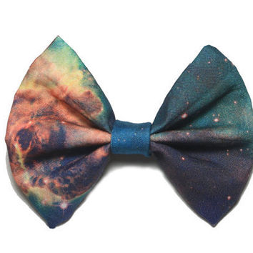 Backordered-Galaxy Printed Hair Bow (S, M, or L) (version 2)