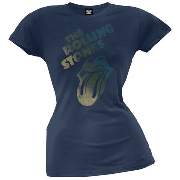 Rolling Stones - Distressed Tongue Blue Juniors T-Shirt
