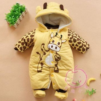 PEAPIX3 Baby Boys And Girls Jumpsuit Animal Giraffe Print Romper Cotton-padded Clothes = 1930072068