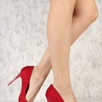 Red Pointy Toe Single Sole High Heels Faux Suede