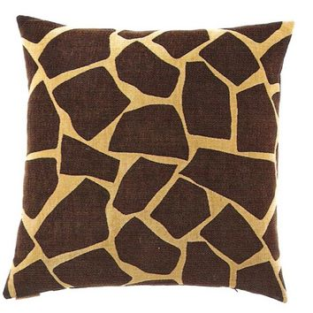 "24"" x 24"" giraffe chenille brown animal print pattern throw pillow with a feather/down insert and zippered removable cover"