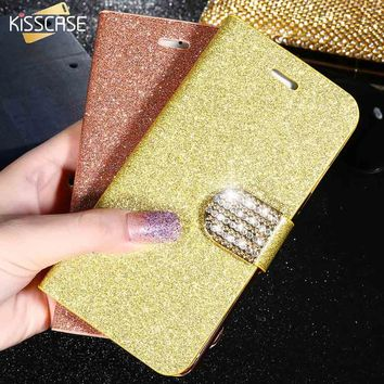 KISSCASE For iPhone 6 6S 5S 7 Plus Full Body Bling Matte Flip Leather Case For iPhone 6 6S 7 Plus 5S SE 5C Stand Wallet Cover