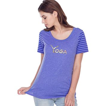 Yoga Clothing For You Yoga Spelling Striped Multi-Contrast Yoga Tee Shirt