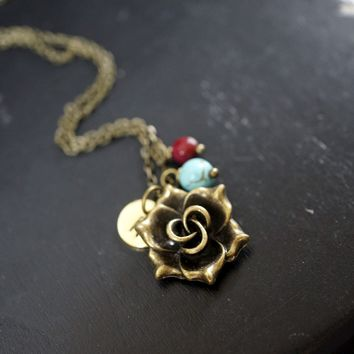 Ruby Necklace - Initial Necklace - Bronze Rose Flower Necklace- Turquoise Necklace Retro Flower Charm Birthstone Necklace