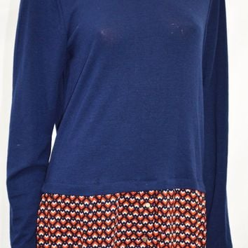NY Collection Women Collar Stretch Blue Printed Layered Knit Tunic Blouse Top L