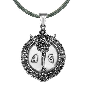 Guardian Archangel Michael Medallion Star of David Accents Amulet Black Crystal Pendant Leather Necklace