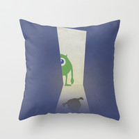 Monsters Inc. Walt Disney Alternative Movie Poster Throw Pillow by Stefanoreves