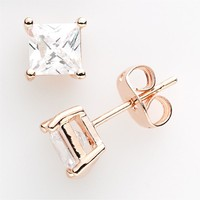 18k Rose Gold Plated Cubic Zirconia Stud Earrings