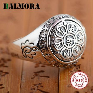 Sterling Silver Jewelry Buddhistic Six Words' Mantra Rings