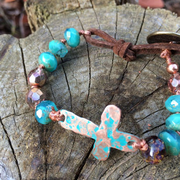 Bohemian style verdigris sideways copper cross hand knotted bracelet turquoise color czech glass beads leather loop brass button closure