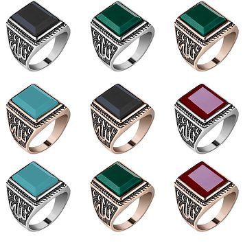 Retro Geometric Embossed Square Resin Men Wide Band Finger Ring Jewelry Gift